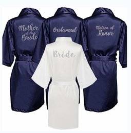 Wholesale new bride s babe bridal robes navy robe hen party getting marrried gift babe of honor bridesmaid kimono bride robes