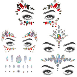 $enCountryForm.capitalKeyWord UK - 1pc Viscose Face Temporary Tattoo Sticker Antislip Jewel Art Decals Glittering Body Face Sticker for Music Festival Parties Acce