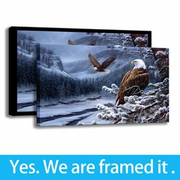 Framed Eagle Painting Australia - Winter Landscape Art Decor Eagle HD Print Wall Picture Animal Canvas Painting - Ready To Hang - Framed