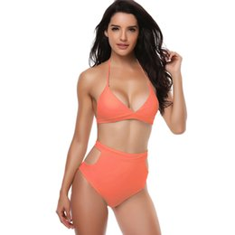 122df1d641c two-piece swimsuits with high waist for Women Padded Sexy Lace-up Solid  Backless Bikini Halter Beach Bathing Swimwear biquini  7