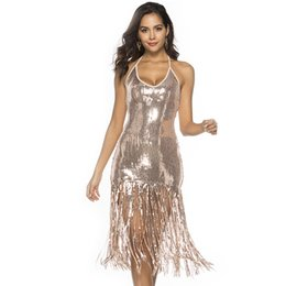 54ef88a6c909 Sexy Halter Plunge Backless Bodycon Sequin Midi Dress Roaring 20s 1920s Flapper  Dress Great Gatsby Party Fringe Dress Costume