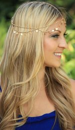 Chain Headpiece Forehead Australia - Fashion Gold Silver Bohemian Women Metal Head Chain Headpieces Hair Jewelry Forehead Dance Headband Piece Wedding Accessories Hippie Crown