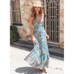 d6a4d2572f2 Mint Floral Print Maxi Dress Women 2019 Summer Sexy Sleeveless Deep V Boho  Dress Ladies Elegant Bohemian Beach Hippie Long Dress