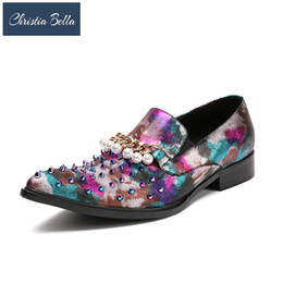 $enCountryForm.capitalKeyWord Canada - Christia Bella Stuts Mixed Spikes and Pearl Chain Loafers Men Wedding Party Dress Flats Handcrafted Smoking Slipper Shoes