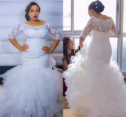 Blusa de la ilusión Sirena Vestidos de novia 2019 Tul con volantes Vestidos africanos de Novia con medias mangas Cuello redondo Vestidos de novia de talla grande en venta