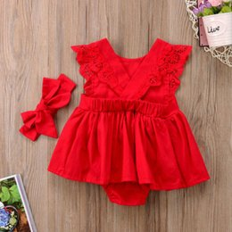 $enCountryForm.capitalKeyWord NZ - sales Plain Newborn Baby Girls Romper Dress Jumpsuit Outfits Clothes Red Casual Lace Bandage Baby Clothes 0-24M 5pcs