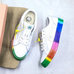 canvas one shoes NZ - Creator x One Star Ox Golf Le Fleur TTC Jolly Hip Hop Low top Canvas Shoes White Rainbow Pu Skateboard Shoes With Box