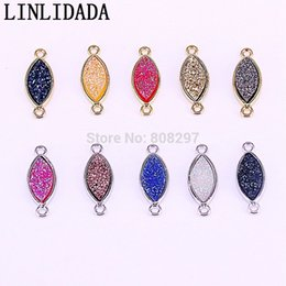 $enCountryForm.capitalKeyWord Australia - 15Pcs Fashion Mixed color Oval Shape Natural titanium quartz crystal Connector, Gem stone Pendant Beads,Jewelry findings