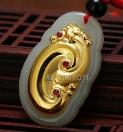 Discount ruyi necklace - Beautiful Natural White Hetian Jade + 18K Gold Inlaid Chinese Dragon RuYi Lucky Pendant + Necklace Fine Jewelry Certific