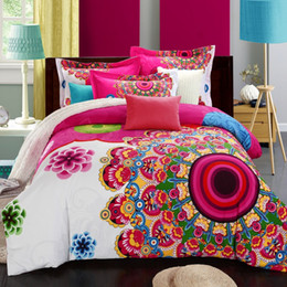 Brushed cotton Bedding set online shopping - Bohemian Style Queen King Size Bedding Set Brushed Cotton Boho Duvet Cover Pillowcase Bed Sheets Home Textiles for Winter