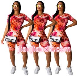 tie dye printing Australia - Wj5038, Women's Clothes Tie-dyed Printing Shorts Leisure Time Two Piece Set98