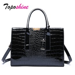 ladies big hand bags 2019 - Toposhine Crocodile Pattern Ladies Hand Big Bag New Fashion High Quality Large Capacity Casual Wild Shoulder Messenger B
