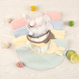 BaBy raBBit cartoon online shopping - Baby saliva towel Korean cartoon baby cotton comfortable and safe threedimensional rabbit round Bib cute Bib