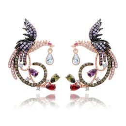 $enCountryForm.capitalKeyWord Australia - Phoenix Shape Multicolor CZ Diamond Earrings 18K Rose Gold Plated Drop Earrings Jewelry for Women Jewelry