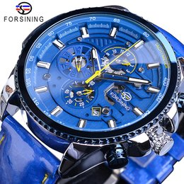 blue dial clock Australia - Forsining Blue Dial Luxury Mens Automatic Watches Stainless Steel Calendar Waterproof Genuine Leather Band Mechanical Male Clock