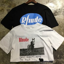 Short horSeS online shopping - Rhude T Shirts High quality Dear Gog best Rhude TopTees Casual Fashion Cotton Men Women Horse printing Black White Rhude T Shirt
