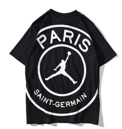 Sh Fashion UK - 19SS Europe and the United States tide brand men's short-sleeved Paris joint fashion trend personality basketball print big LOGO couple T-sh