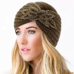 Fallen Hats Australia - Winter Hat Knit Headband Ear Muff Bling Embellished Applique Christmas Holiday Gift For Women Teen Girl Fall Winter Fashion