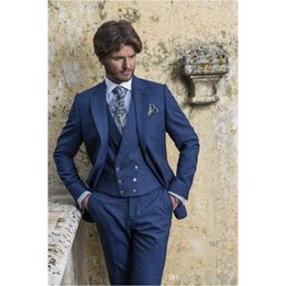 Royal Blue Yellow Suits Australia - Custom Made Handsome Royal Blue PIece Mens Slim Suits Tuxedos Groom Wedding Suits Blazer (Jacket+Pants+Vest) H551