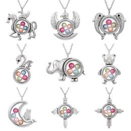 "Memory Locket Pendant Wholesale Australia - Silver Pegasus Swan Diameter 8mm Beads Pearl Cage Living Memory Magnetic Closed Floating Locket Rhinestone Pendant Necklace With Chain 27"""