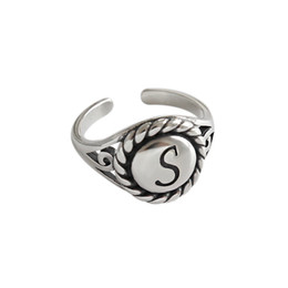 $enCountryForm.capitalKeyWord NZ - Retro Round S Letter 925 Sterling Silver Adjustable Ring