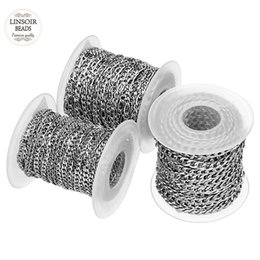 $enCountryForm.capitalKeyWord UK - 10yards roll 3mm 4mm 5mm Width Silver Tone Stainless Steel Bulk Chain Men's Figaro Chain For Necklaces Bracelets Jewelry Making Y19050901