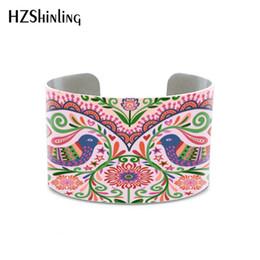 $enCountryForm.capitalKeyWord Australia - 2019 New Polish Folk Style Love bangle Wycinanki Flower bracelet Love Birds Floral Lace Heart Art Print jewelry Botanical