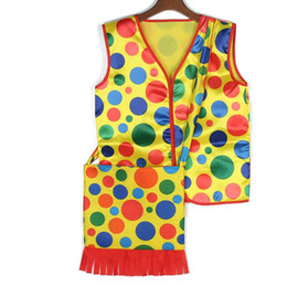 $enCountryForm.capitalKeyWord UK - Halloween Makeup Fancy Dress Costumes Colorful Dot Clown Vest Backpack mardi gras carnival Cosplay Performance Wear Tops Clothes bags gift
