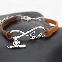 $enCountryForm.capitalKeyWord Australia - 2019 Women Men Infinity Love Gymnastics Sports Pendant Charm Jewelry Dark Brown Leather Suede Rope Adjustment Cuff Bracelets & Bangles Gifts