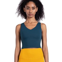 sleeveless women shirts Canada - 2020 V Neck Tops For Women Running Vest With Pad Yoga Crop Top Gym For Sports Sleeveless Female T-shirt Fitness Skin Care Blusas