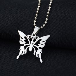 Wholesale Butterfly Pendant Necklace Stainless Steel Hollow out Insect Jewelry Kids Women Cute Charm Silver Necklaces Jewelry