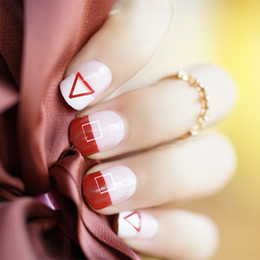 $enCountryForm.capitalKeyWord Australia - Bride Wedding 3D False Nails Girls Pretty Red Color Fake Nails Long Finished Nail Art Design with Glue 24pcs Set