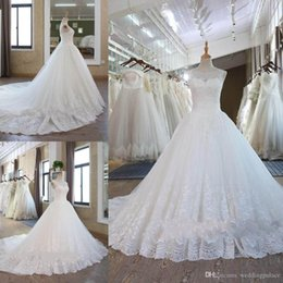 $enCountryForm.capitalKeyWord Australia - Sheer Neck Princess Lace Wedding Dresses Custom Made Plus Size Open Back Tulle Puffy Bridal Gowns Arabic Bridal Wedding Gowns