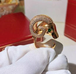 gold sheep NZ - Male and female domineering ring designer animal sheep head ring with logo rose gold gold and silver 3 colors