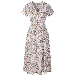 4b5ba5acb29a good quality Womens dress V Neck Holiday Floral Print Dress Ladies Summer  Beach Party Dress Casual Clothing Femme Robe vestido