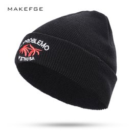bebab608de6 New fashion embroidery coconut tree beautiful letters ladies autumn and winter  knitted cotton hats warm women ski caps Beanies
