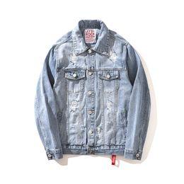 $enCountryForm.capitalKeyWord Australia - Hi Street Ripped Denim Jacket Fashion Mens Washed Oversize Distressed Jeans Jackets Outerwear With Holes Light Blue