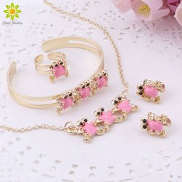 $enCountryForm.capitalKeyWord Australia - Gold-Color Baby Jewelry Set Gift Children Cute Jewelry Sets Kids Jewellery Ring Earring Bracelet Pendant Necklace