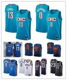 7d89213942c Mens Oklahoma City Russell Westbrook Paul George okc Blake Griffin Lou  Williams Thunder Tobias Harris Luka Doncic Basketball Jerseys