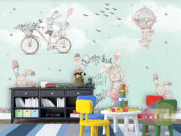 Korean Cartoon Wallpaper Australia - Large Custom Wallpaper Mural Hot Air Balloon Abstract Bunny Hand Painted Snow Cartoon Kids Wallpaper 3d flooring