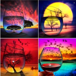 $enCountryForm.capitalKeyWord Australia - 4 Pack Sunset Sunrise Cup 5D DIY Diamond Painting Kits Full Drill Rhinestone Embroidery Cross Stitch Home Decor Craft