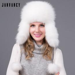 9cca40827a730 Women s Winter Whole-skin Natural fox fur Bomber Hat with Earmuffs 2 Real  fox fur pompom Russia ushanka Ski Trapper Cossack Snow
