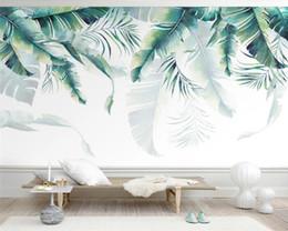 Personnalisé moderne papier peint dessiné à la main Nordic petites plantes tropicales fraîches salon TV papier peint de parede 3dwall papiers décor à la maison en Solde