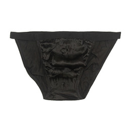 e8f27775026 Mens String Bikinis One Pair Sexy 100% Natural Silk Tanga Low Rise Briefs Size  US S M L XL XXL