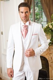 $enCountryForm.capitalKeyWord Australia - New Arrival Pure White Men Suits For Wedding Cheap Slim Fit Groomsmen Tuxedos One Button Formal Wedding Suit (Jacket+Pants+Vest)