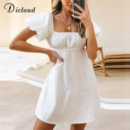 Linen beach shirt online shopping - DICLOUD Puff Sleeve White Cotton Day Dress Women Casual Summer A line Sundress Ladies Sexy Solid Party Beach Clothing