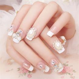 $enCountryForm.capitalKeyWord Australia - 24pcs new fashion bow pearl transparent rhinestone embellishment bride fake nail patch 3D charm beauty nail tool art