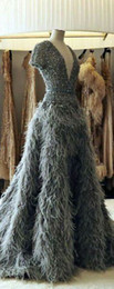 $enCountryForm.capitalKeyWord Australia - Evening dress Yousef aljasmi Labourjoisie Zuhair murad Long Dress Ball Gown V-Neck Short Sleeve Gray Sequins Feather Sequined James_paul