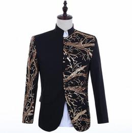 Punk Style Suit NZ - singers gold sequins blazer men suits stand collar jacket mens stage costumes clothes dance star style dress punk rock
