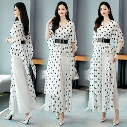 black dot shirt women 2021 - 2020 Spring Summer two Pieces Suits Women short sleeve dot blouse tops shirt and wide leg pants trousers lady 2 piece Sets